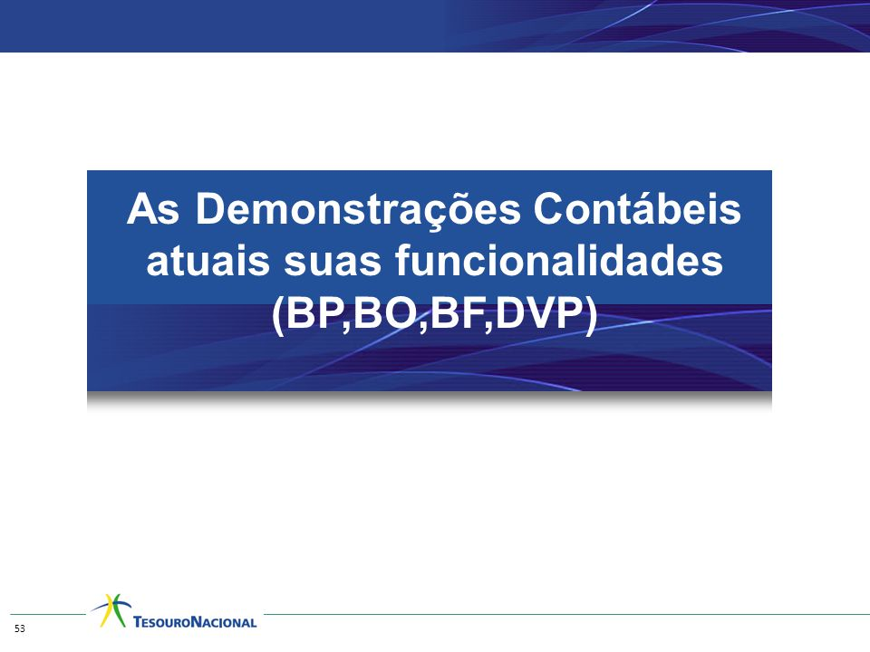 As Demonstrações Contábeis atuais suas funcionalidades (BP,BO,BF,DVP) 53