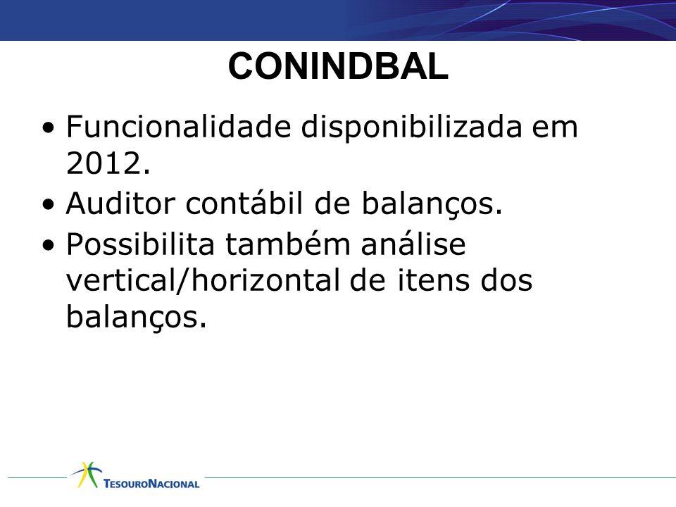 CONINDBAL •Funcionalidade disponibilizada em 2012. •Auditor contábil de balanços. •Possibilita também análise vertical/horizontal de itens dos balanço