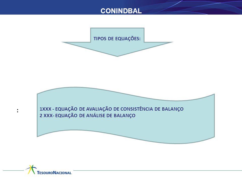 CONINDBAL : TIPOS DE EQUAÇÕES: 1XXX - EQUAÇÃO DE AVALIAÇÃO DE CONSISTÊNCIA DE BALANÇO 2 XXX- EQUAÇÃO DE ANÁLISE DE BALANÇO