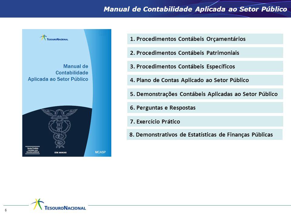 1. Procedimentos Contábeis Orçamentários 2. Procedimentos Contábeis Patrimoniais 3. Procedimentos Contábeis Específicos 4. Plano de Contas Aplicado ao