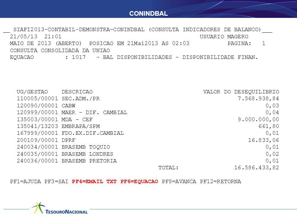 CONINDBAL __ SIAFI2013-CONTABIL-DEMONSTRA-CONINDBAL (CONSULTA INDICADORES DE BALANCO)___ 21/05/13 21:01 USUARIO MAGERO MAIO DE 2013 (ABERTO) POSICAO EM 21Mai2013 AS 02:03 PAGINA: 1 CONSULTA CONSOLIDADA DA UNIAO EQUACAO : 1017 - BAL DISPONIBILIDADES - DISPONIBILIDADE FINAN.