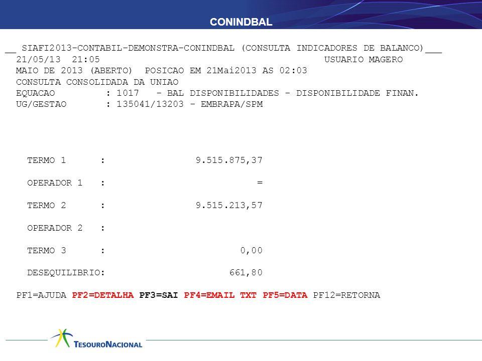 CONINDBAL __ SIAFI2013-CONTABIL-DEMONSTRA-CONINDBAL (CONSULTA INDICADORES DE BALANCO)___ 21/05/13 21:05 USUARIO MAGERO MAIO DE 2013 (ABERTO) POSICAO E