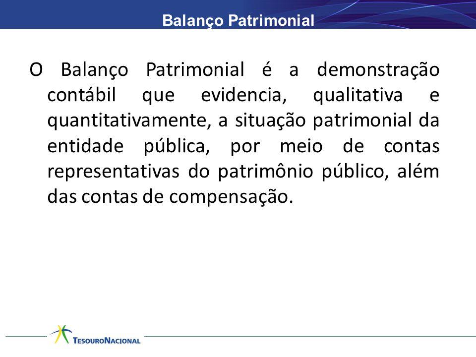 Balanço Patrimonial O Balanço Patrimonial é a demonstração contábil que evidencia, qualitativa e quantitativamente, a situação patrimonial da entidade pública, por meio de contas representativas do patrimônio público, além das contas de compensação.