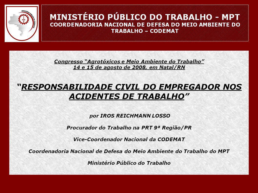 """Congresso """"Agrotóxicos e Meio Ambiente do Trabalho"""" 14 e 15 de agosto de 2008, em Natal/RN """"RESPONSABILIDADE CIVIL DO EMPREGADOR NOS ACIDENTES DE TRAB"""