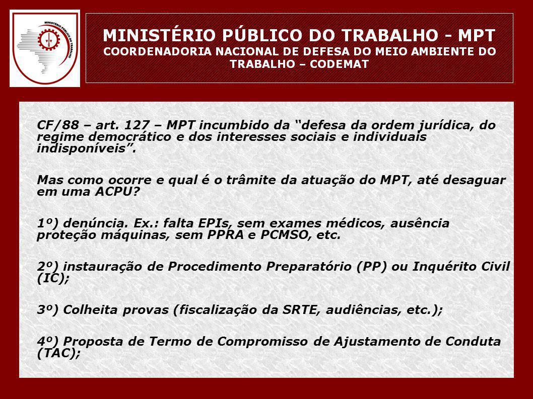 """• CF/88 – art. 127 – MPT incumbido da """"defesa da ordem jurídica, do regime democrático e dos interesses sociais e individuais indisponíveis"""". • Mas co"""