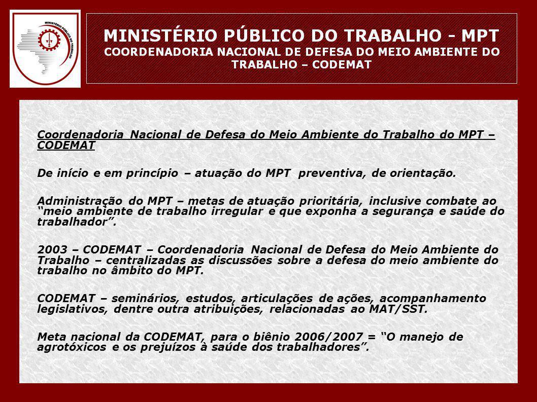 • Coordenadoria Nacional de Defesa do Meio Ambiente do Trabalho do MPT – CODEMAT • De início e em princípio – atuação do MPT preventiva, de orientação