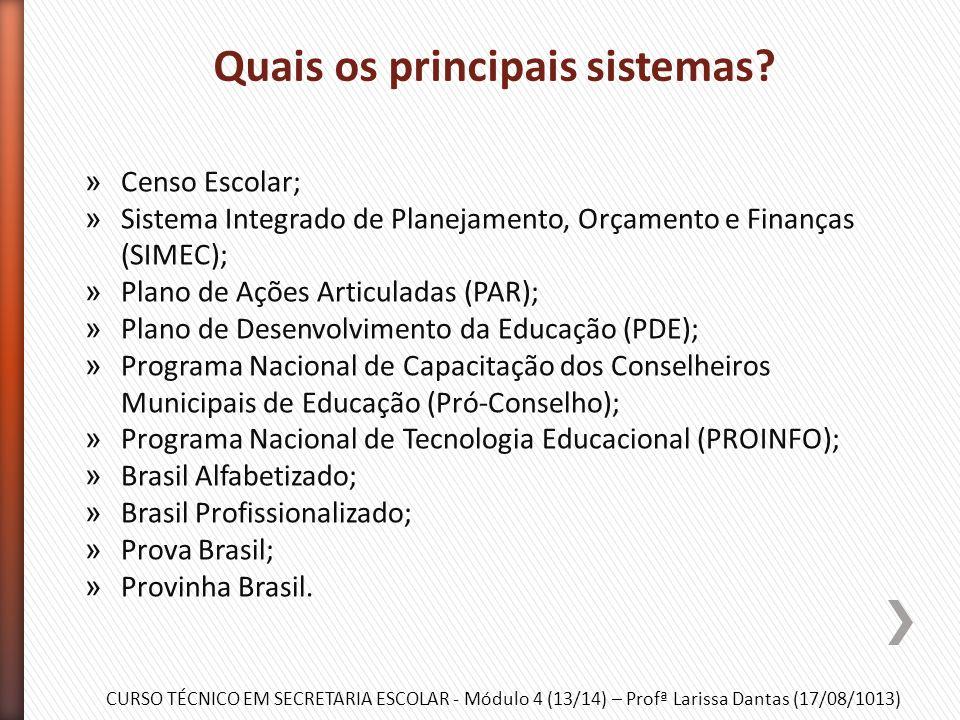 CURSO TÉCNICO EM SECRETARIA ESCOLAR - Módulo 4 (13/14) – Profª Larissa Dantas (17/08/1013) » Como instituição subordinada ao Ministério da Educação, a