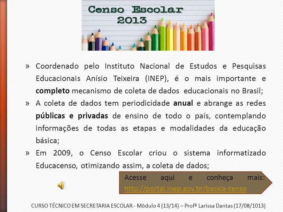 CURSO TÉCNICO EM SECRETARIA ESCOLAR - Módulo 4 (13/14) – Profª Larissa Dantas (17/08/1013) » Censo Escolar; » Sistema Integrado de Planejamento, Orçam