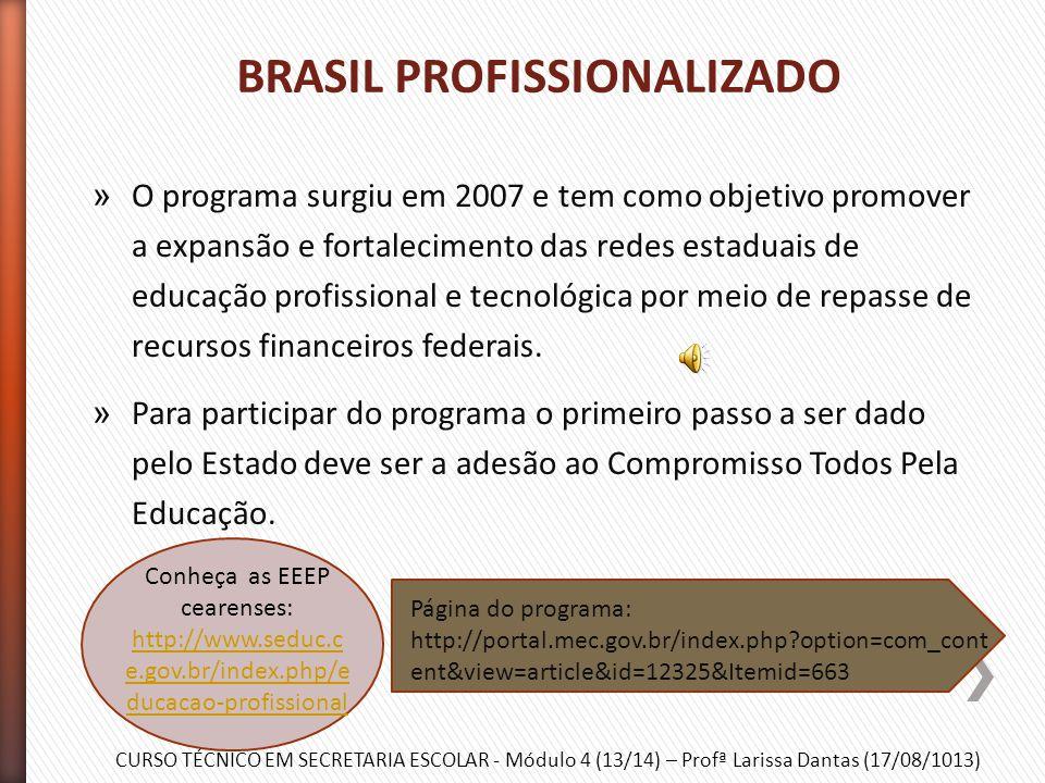 CURSO TÉCNICO EM SECRETARIA ESCOLAR - Módulo 4 (13/14) – Profª Larissa Dantas (17/08/1013) » Esse programa está funcionando desde 2003 e atende ao púb