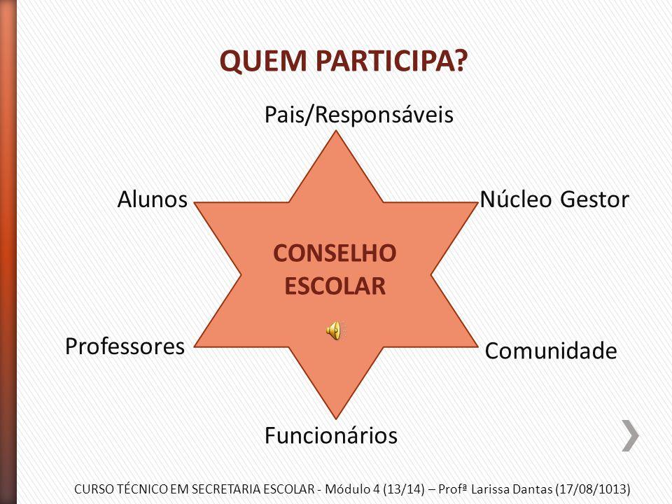 CURSO TÉCNICO EM SECRETARIA ESCOLAR - Módulo 4 (13/14) – Profª Larissa Dantas (17/08/1013) » Constituído de diferentes segmentos que representam a esc