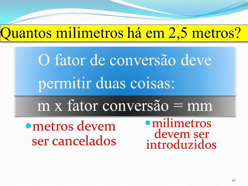 10 Quantos milimetros há em 2,5 metros?  metros devem ser cancelados  milimetros devem ser introduzidos unidade 1 x fator conversão = = unidade 2 m
