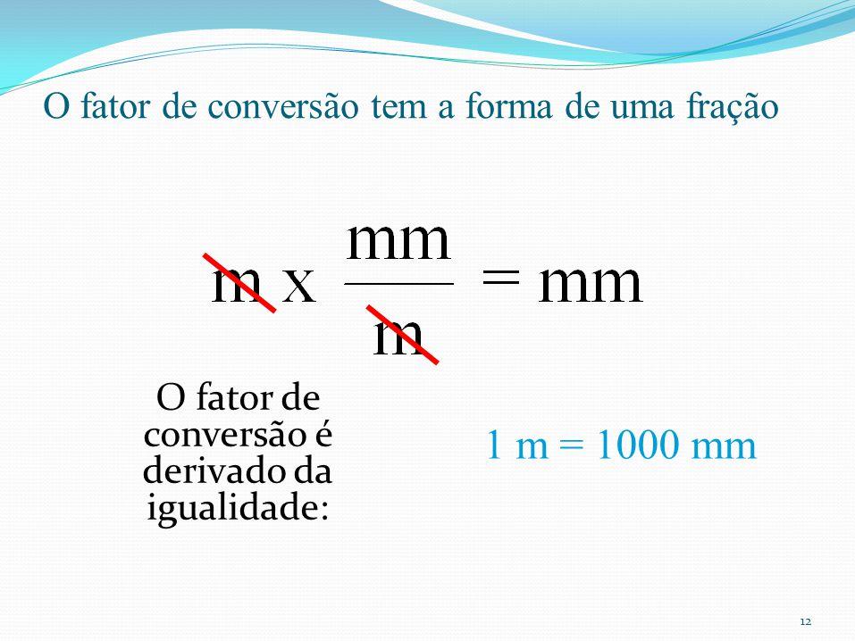 12 O fator de conversão tem a forma de uma fração O fator de conversão é derivado da igualidade: 1 m = 1000 mm