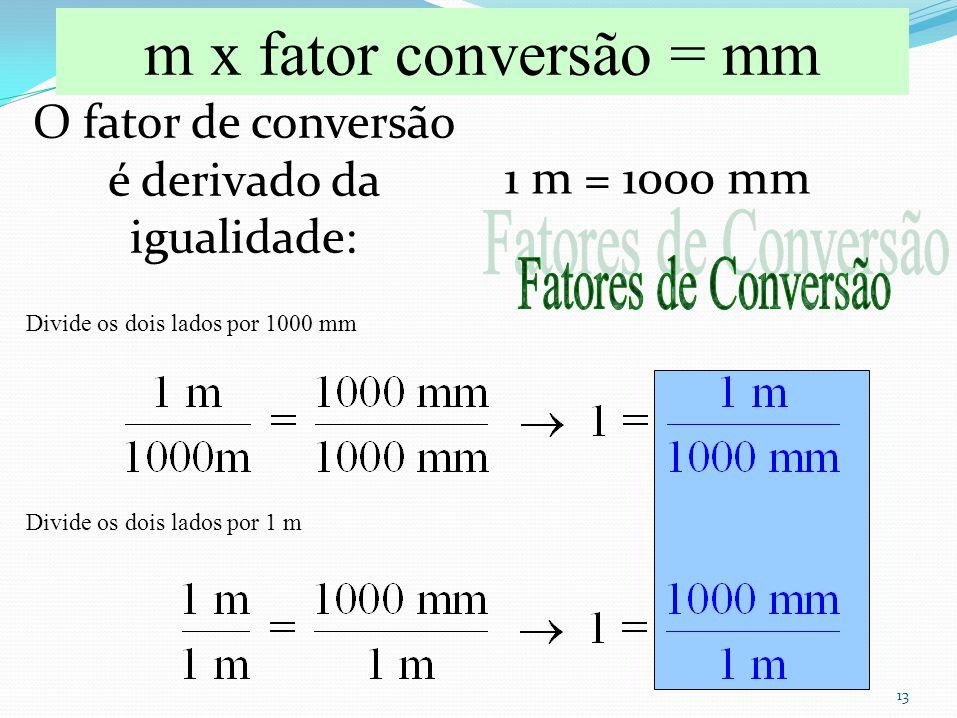 13 O fator de conversão é derivado da igualidade: 1 m = 1000 mm m x fator conversão = mm Divide os dois lados por 1000 mm Divide os dois lados por 1 m