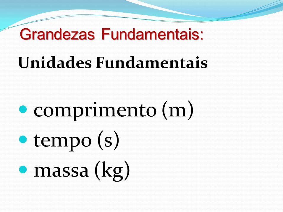 Unidades Fundamentais  comprimento (m)  tempo (s)  massa (kg) Grandezas Fundamentais: