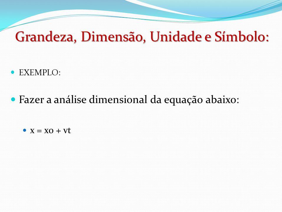  EXEMPLO:  Fazer a análise dimensional da equação abaixo:  x = x0 + vt