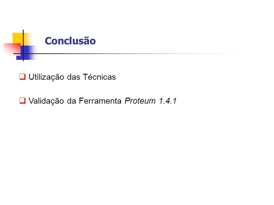 Conclusão  Utilização das Técnicas  Validação da Ferramenta Proteum 1.4.1