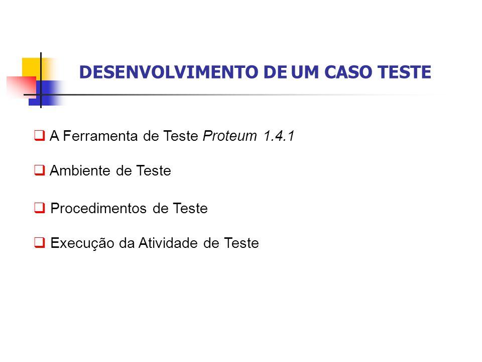 DESENVOLVIMENTO DE UM CASO TESTE  A Ferramenta de Teste Proteum 1.4.1  Ambiente de Teste  Procedimentos de Teste  Execução da Atividade de Teste