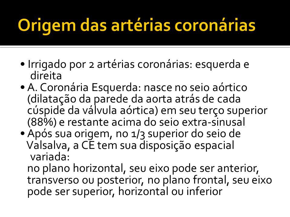 • Irrigado por 2 artérias coronárias: esquerda e direita • A. Coronária Esquerda: nasce no seio aórtico (dilatação da parede da aorta atrás de cada cú