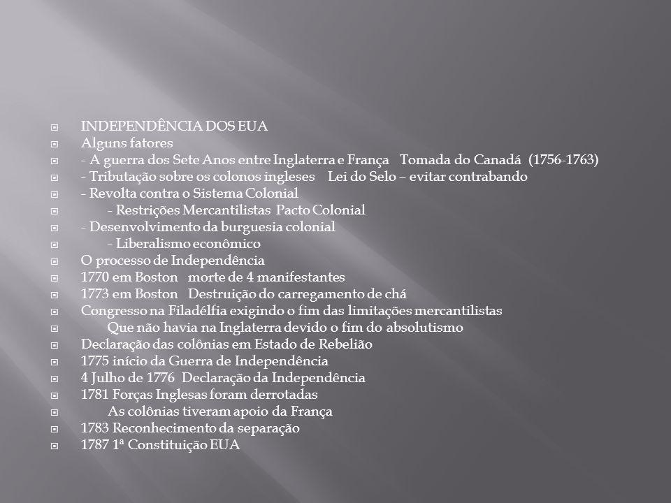  INDEPENDÊNCIA DOS EUA  Alguns fatores  - A guerra dos Sete Anos entre Inglaterra e França Tomada do Canadá (1756-1763)  - Tributação sobre os col