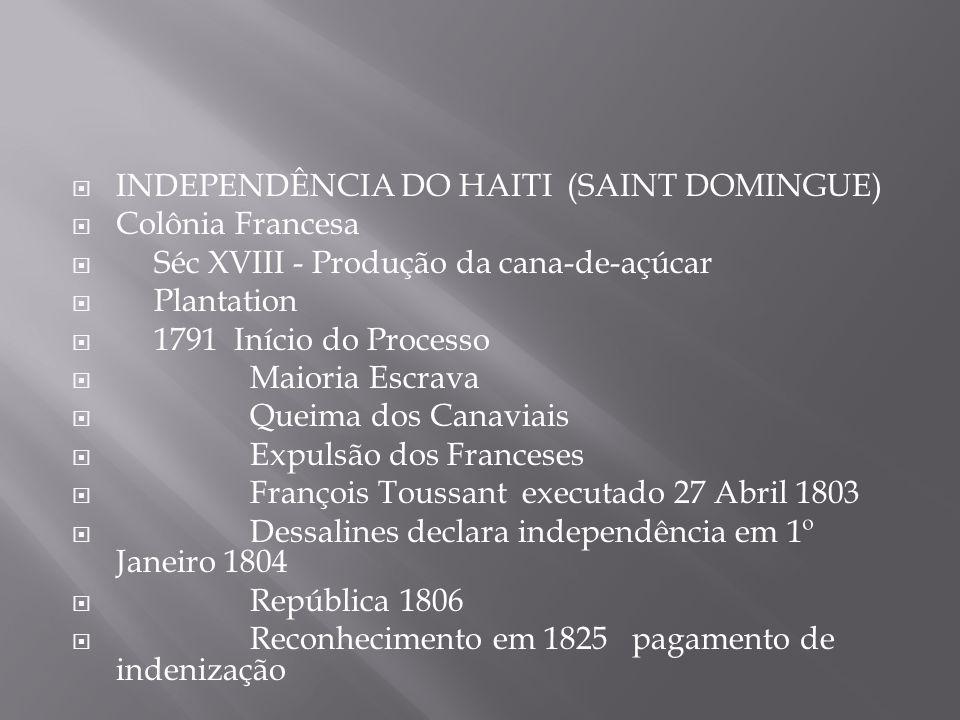  INDEPENDÊNCIA DO HAITI (SAINT DOMINGUE)  Colônia Francesa  Séc XVIII - Produção da cana-de-açúcar  Plantation  1791 Início do Processo  Maioria