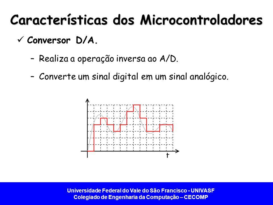 Universidade Federal do Vale do São Francisco - UNIVASF Colegiado de Engenharia da Computação – CECOMP Características dos Microcontroladores  Conversor D/A.