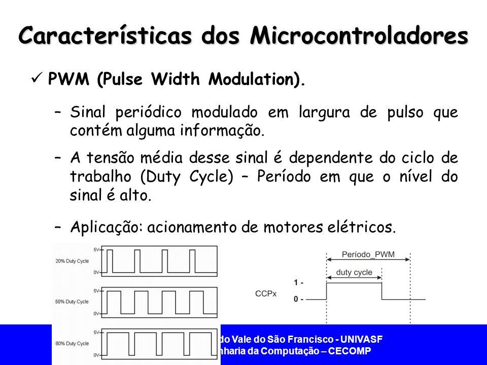 Universidade Federal do Vale do São Francisco - UNIVASF Colegiado de Engenharia da Computação – CECOMP Características dos Microcontroladores  PWM (Pulse Width Modulation).