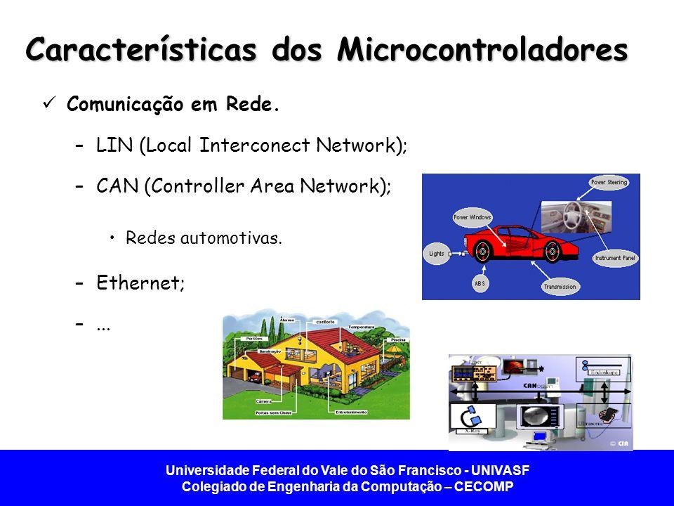Universidade Federal do Vale do São Francisco - UNIVASF Colegiado de Engenharia da Computação – CECOMP Características dos Microcontroladores  Comunicação em Rede.