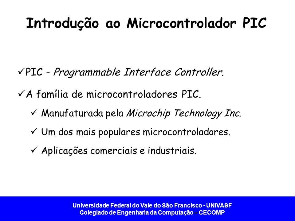 Universidade Federal do Vale do São Francisco - UNIVASF Colegiado de Engenharia da Computação – CECOMP Introdução ao Microcontrolador PIC   PIC - Programmable Interface Controller.