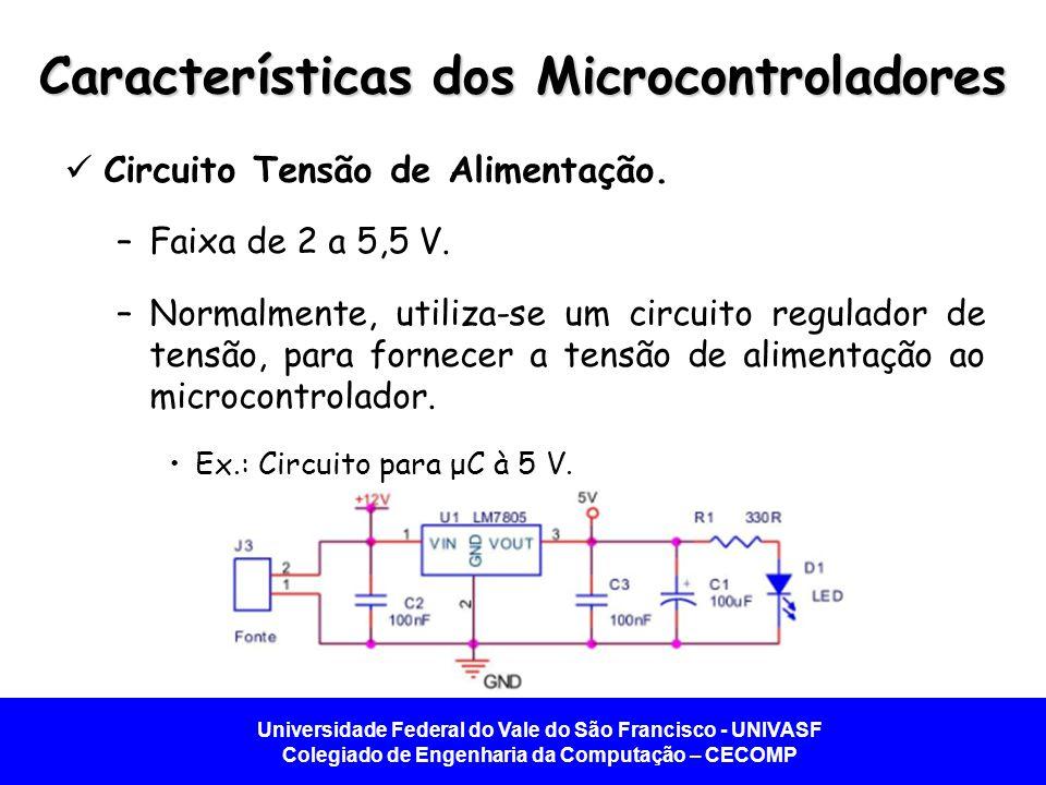 Universidade Federal do Vale do São Francisco - UNIVASF Colegiado de Engenharia da Computação – CECOMP Características dos Microcontroladores  Circuito Tensão de Alimentação.