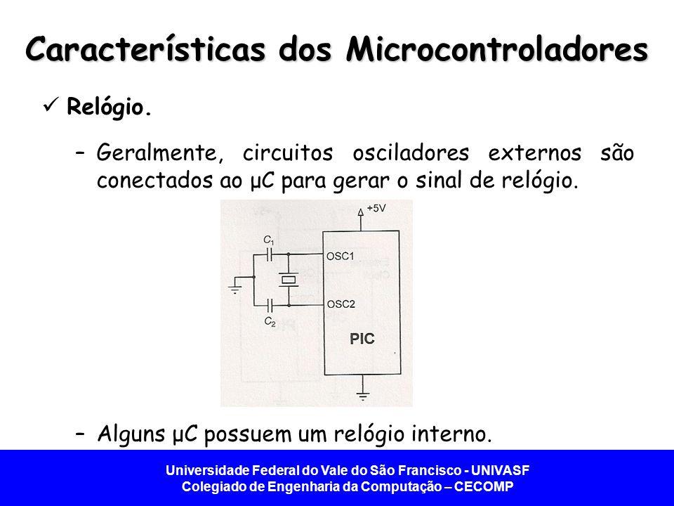 Universidade Federal do Vale do São Francisco - UNIVASF Colegiado de Engenharia da Computação – CECOMP Características dos Microcontroladores  Relógio.