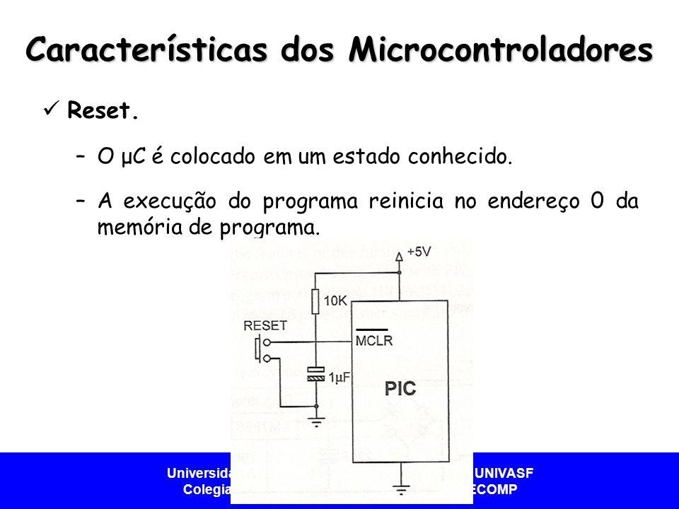 Universidade Federal do Vale do São Francisco - UNIVASF Colegiado de Engenharia da Computação – CECOMP Características dos Microcontroladores  Reset.