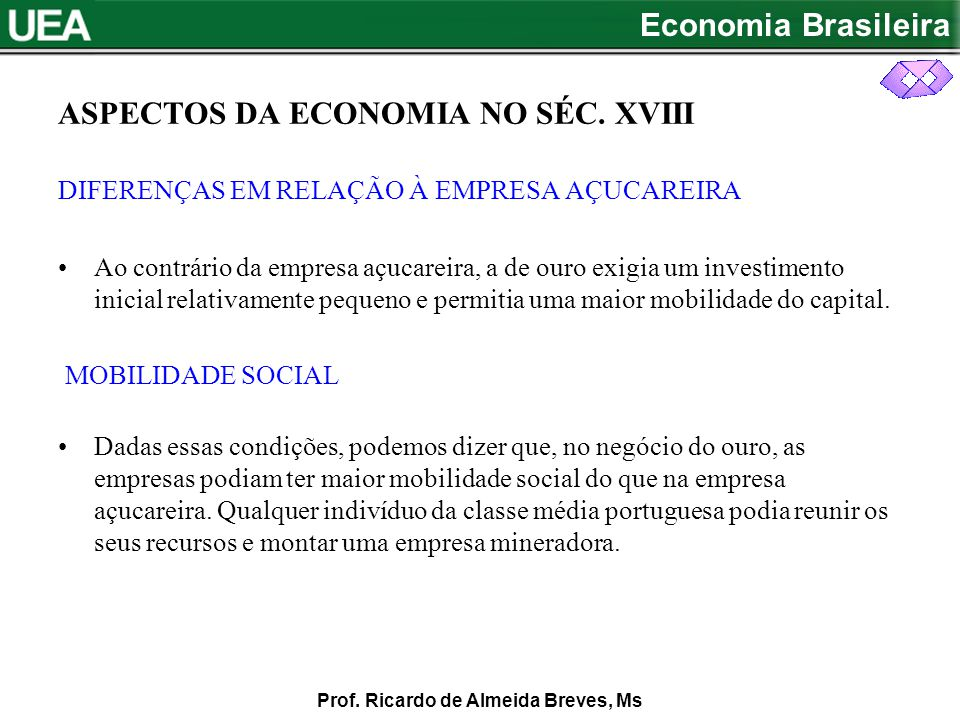 Economia Brasileira Prof.Ricardo de Almeida Breves, Ms ASPECTOS DA ECONOMIA NO SEC.