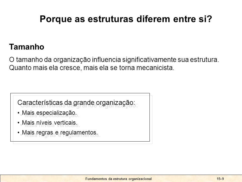 Fundamentos da estrutura organizacional15–9 Características da grande organização: •Mais especialização. •Mais níveis verticais. •Mais regras e regula