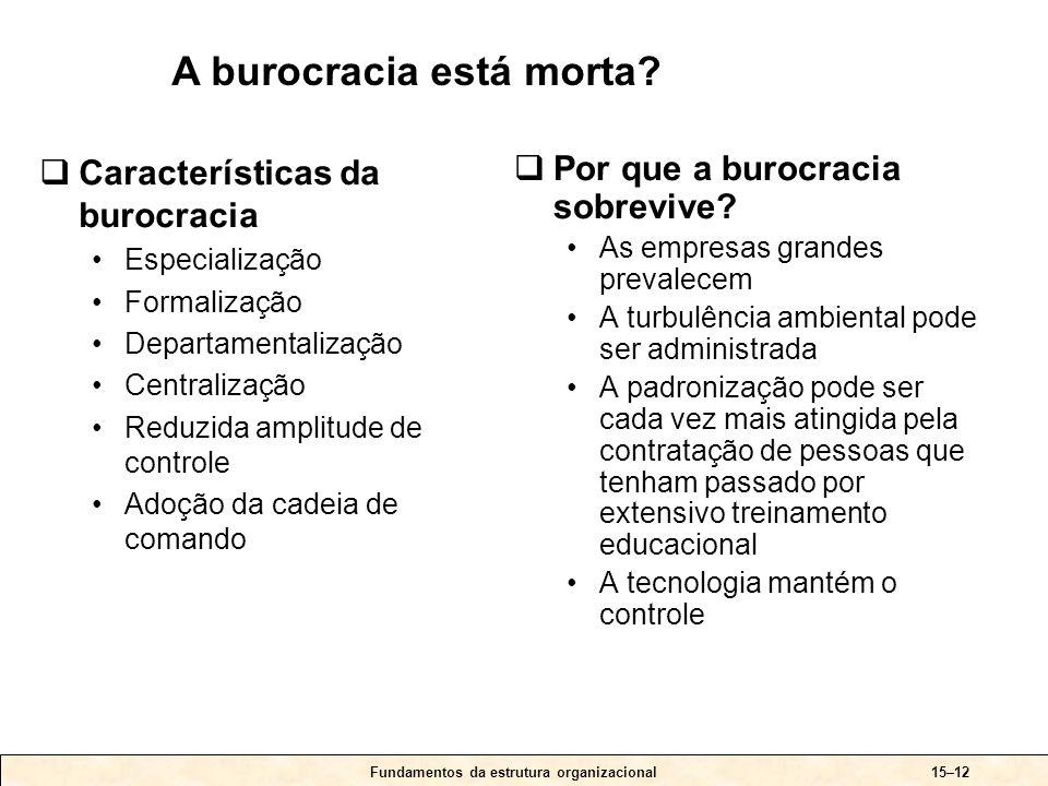 Fundamentos da estrutura organizacional15–12  Características da burocracia •Especialização •Formalização •Departamentalização •Centralização •Reduzi