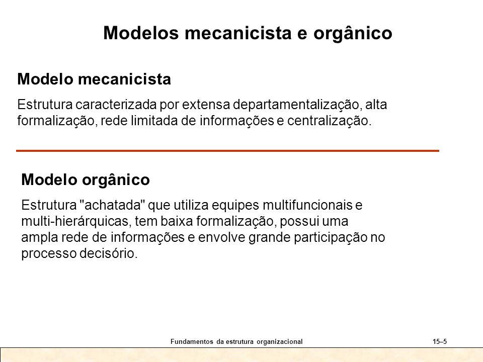 Fundamentos da estrutura organizacional15–5 Modelo mecanicista Estrutura caracterizada por extensa departamentalização, alta formalização, rede limita