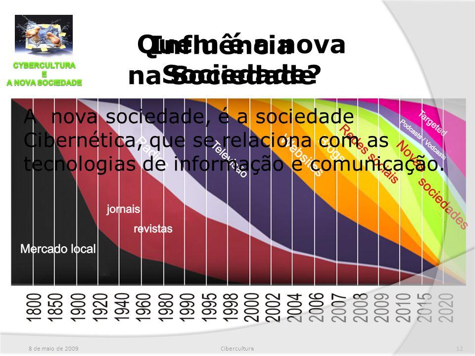 Quem é a nova Sociedade? 8 de maio de 2009Cibercultura12 Influência na Sociedade A nova sociedade, é a sociedade Cibernética, que se relaciona com as