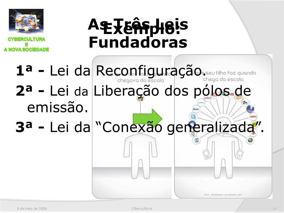 """8 de maio de 2009Cibercultura14 Exemplo: As Três Leis Fundadoras 1ª - Lei da Reconfiguração. 2ª - Lei da Liberação dos pólos de emissão. 3ª - Lei da """""""