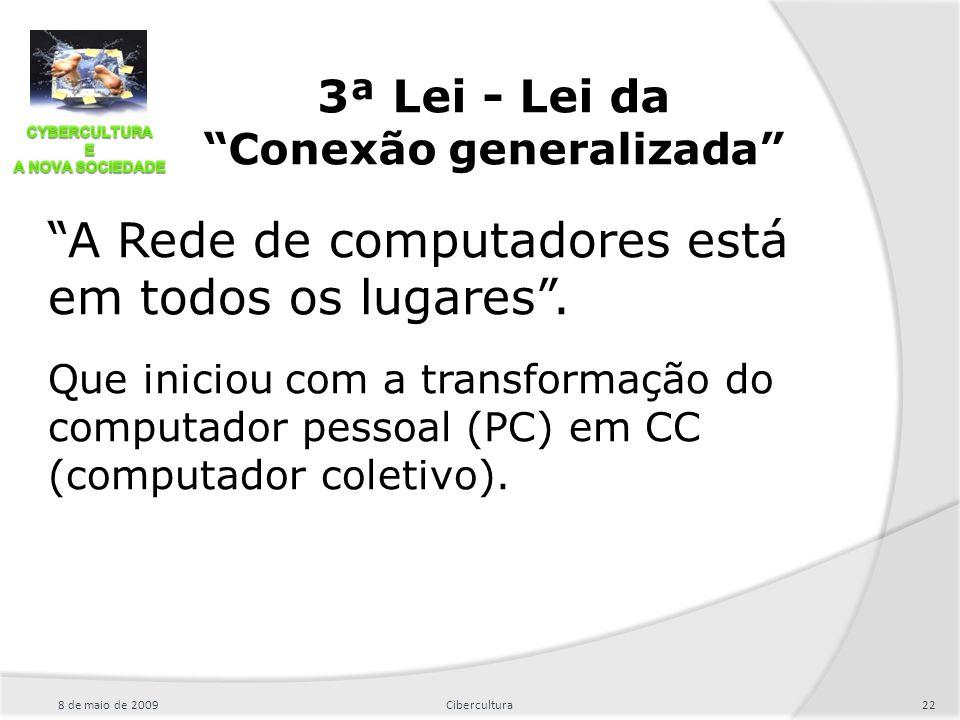 """""""A Rede de computadores está em todos os lugares"""". Que iniciou com a transformação do computador pessoal (PC) em CC (computador coletivo). 8 de maio d"""