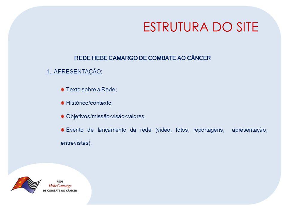 ESTRUTURA DO SITE REDE HEBE CAMARGO DE COMBATE AO CÂNCER 1.
