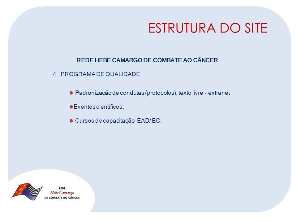 ESTRUTURA DO SITE REDE HEBE CAMARGO DE COMBATE AO CÂNCER 4.