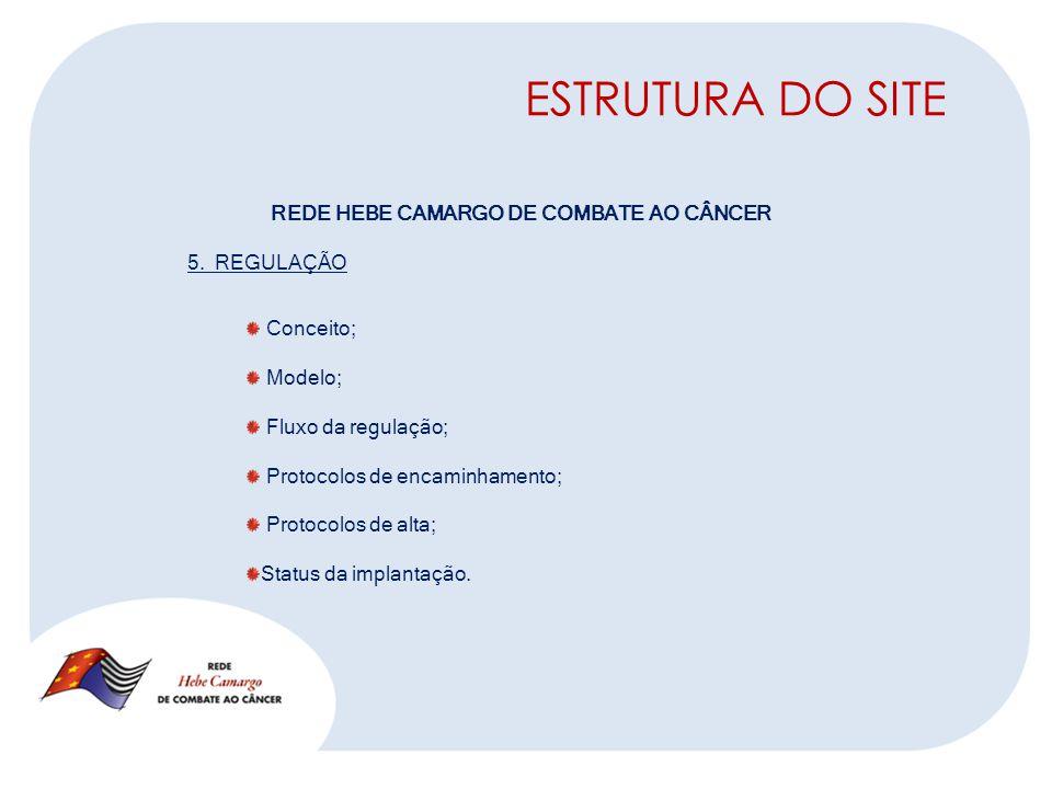 ESTRUTURA DO SITE REDE HEBE CAMARGO DE COMBATE AO CÂNCER 5.