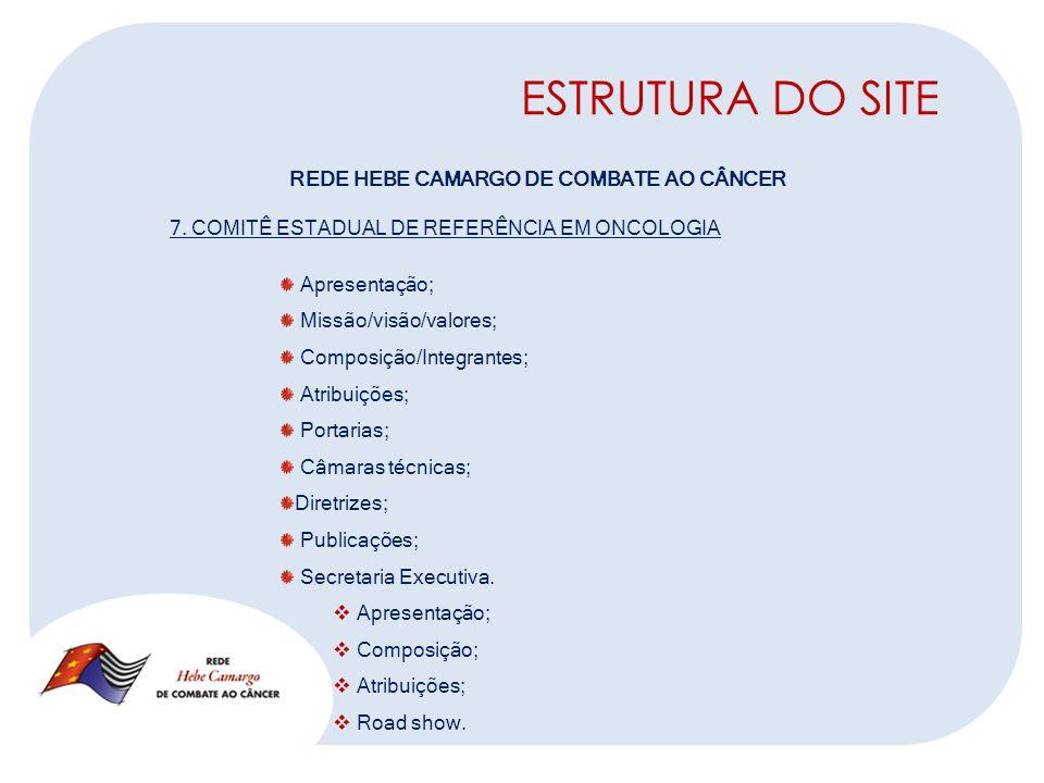 ESTRUTURA DO SITE REDE HEBE CAMARGO DE COMBATE AO CÂNCER 7.
