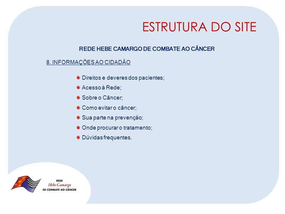 ESTRUTURA DO SITE REDE HEBE CAMARGO DE COMBATE AO CÂNCER 8.