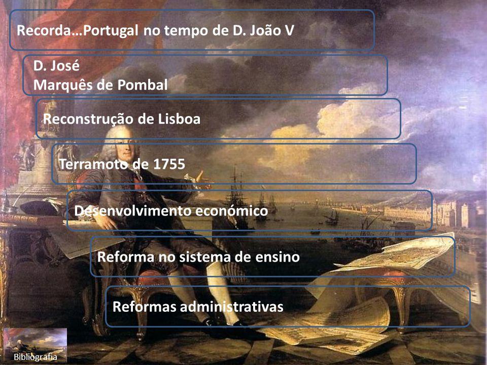 Recorda…Portugal no tempo de D. João V D. José Marquês de Pombal Terramoto de 1755 Reconstrução de Lisboa Desenvolvimento económico Reforma no sistema