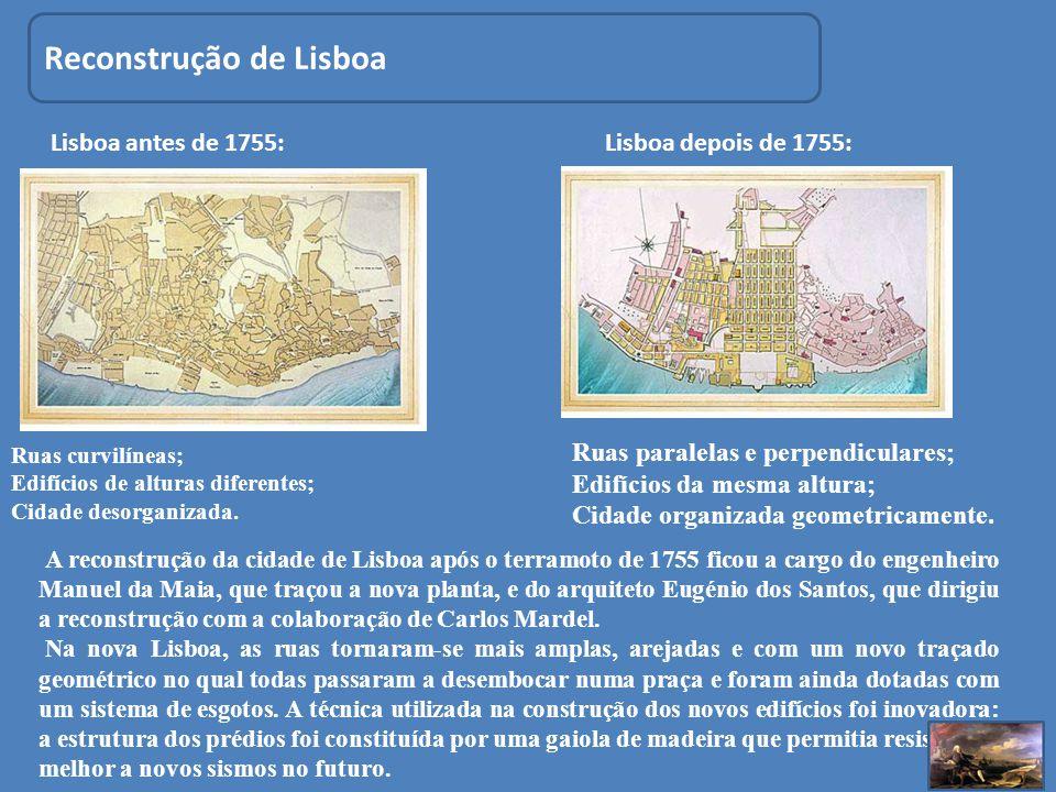 Reconstrução de Lisboa Ruas curvilíneas; Edifícios de alturas diferentes; Cidade desorganizada. Ruas paralelas e perpendiculares; Edifícios da mesma a