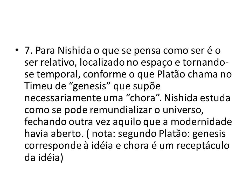 """• 7. Para Nishida o que se pensa como ser é o ser relativo, localizado no espaço e tornando- se temporal, conforme o que Platão chama no Timeu de """"gen"""