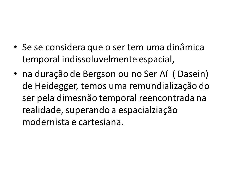 • Se se considera que o ser tem uma dinâmica temporal indissoluvelmente espacial, • na duração de Bergson ou no Ser Aí ( Dasein) de Heidegger, temos uma remundialização do ser pela dimesnão temporal reencontrada na realidade, superando a espacialziação modernista e cartesiana.