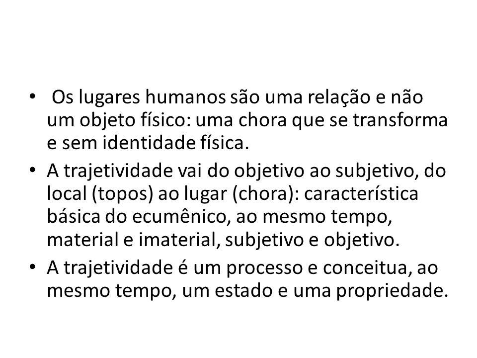 • Os lugares humanos são uma relação e não um objeto físico: uma chora que se transforma e sem identidade física.