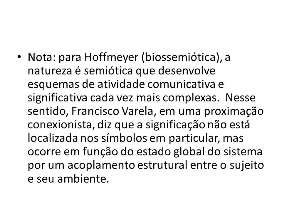 • Nota: para Hoffmeyer (biossemiótica), a natureza é semiótica que desenvolve esquemas de atividade comunicativa e significativa cada vez mais complexas.
