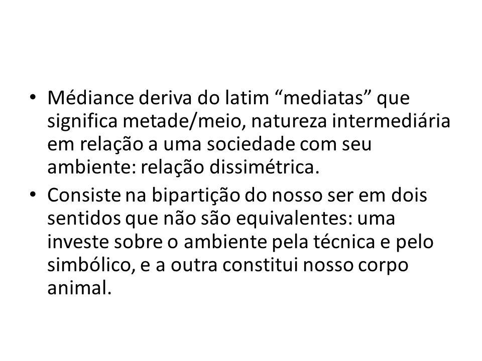 • Médiance deriva do latim mediatas que significa metade/meio, natureza intermediária em relação a uma sociedade com seu ambiente: relação dissimétrica.